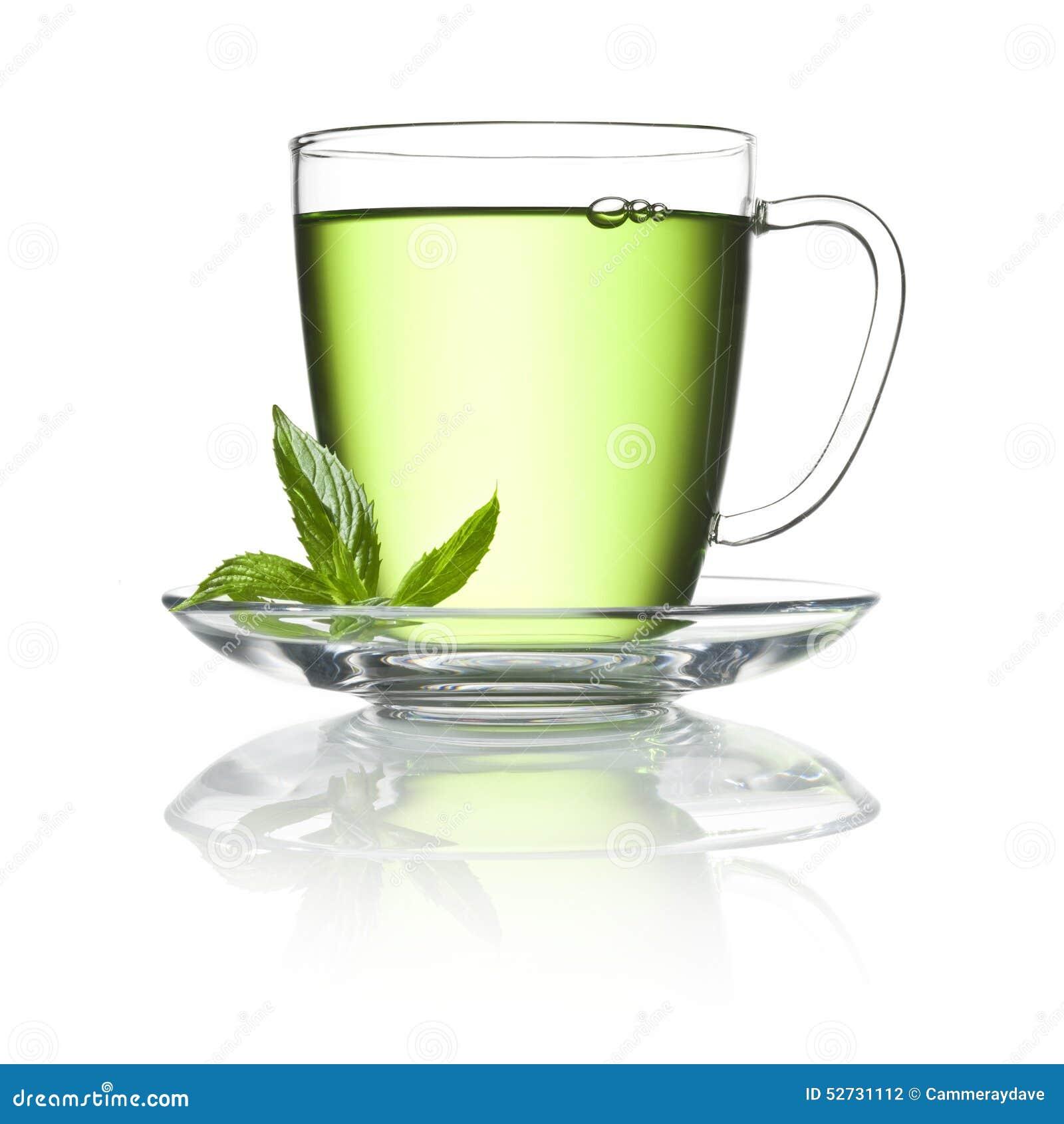 Taza de té verde de la hierbabuena