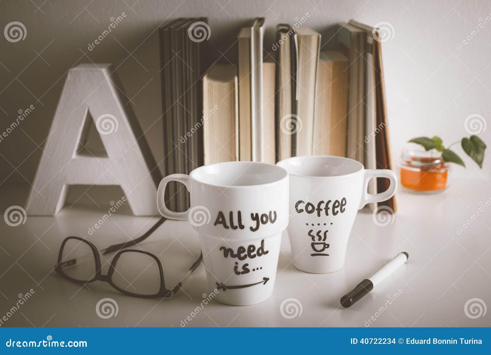 Taza del caf con leche dos con la decoraci n diy en for Decoracion con tazas de cafe