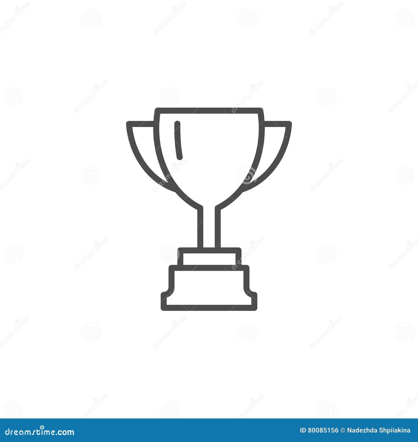 taza del vector l u00ednea fina taza del ganador icono de la