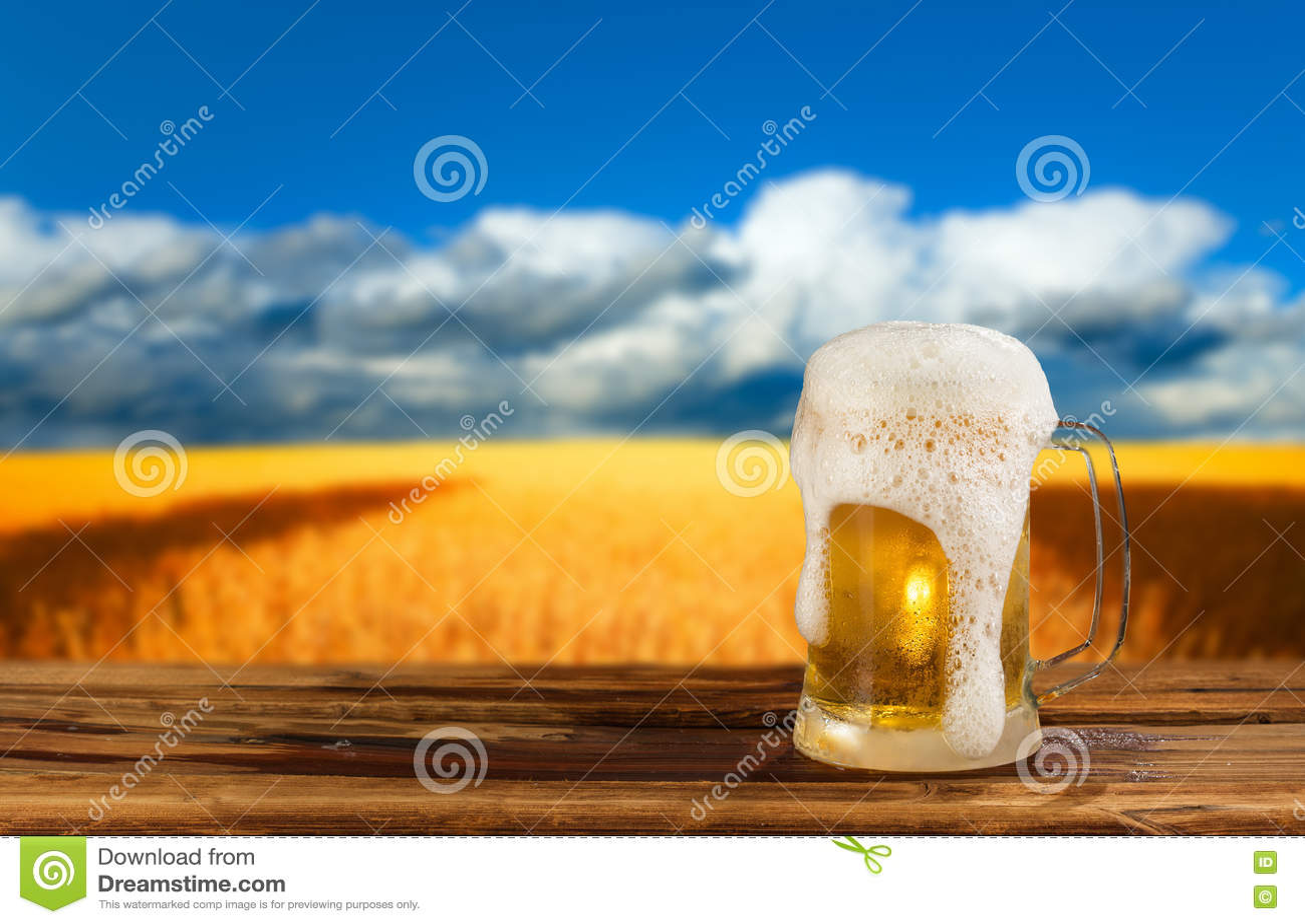 Taza fría de cerveza