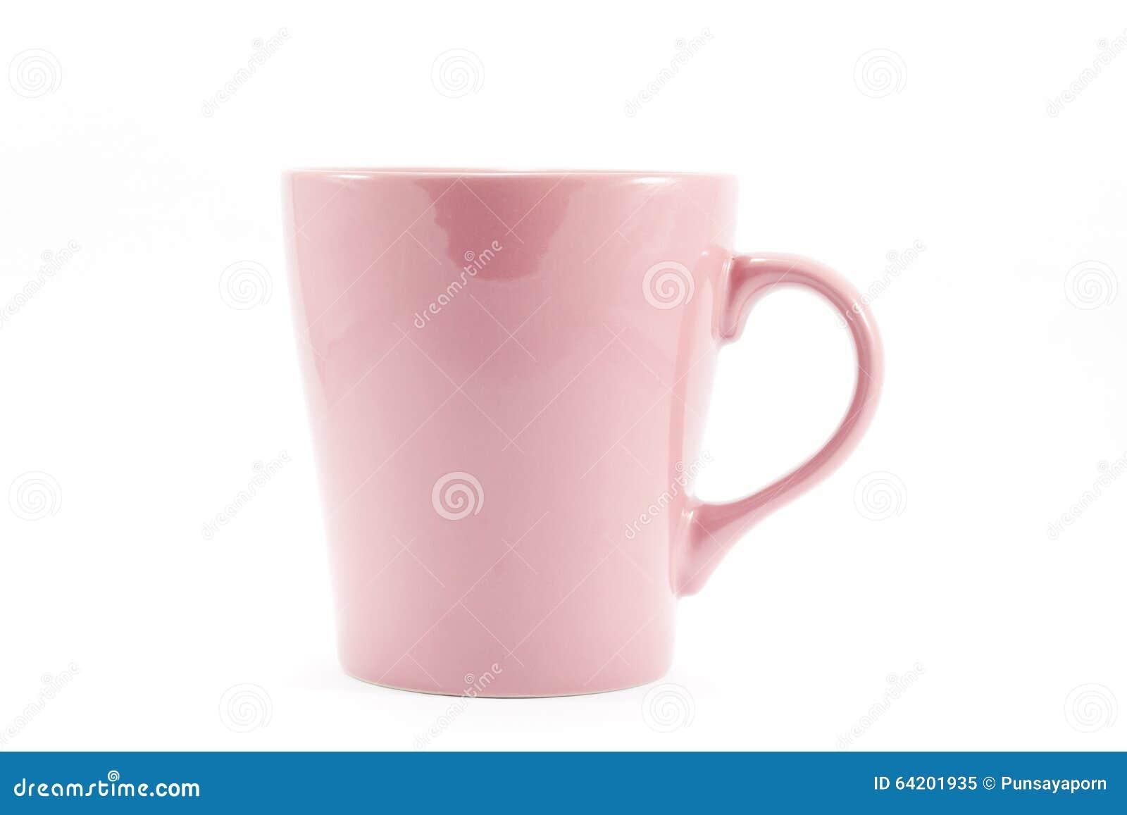 Taza rosada en el fondo blanco