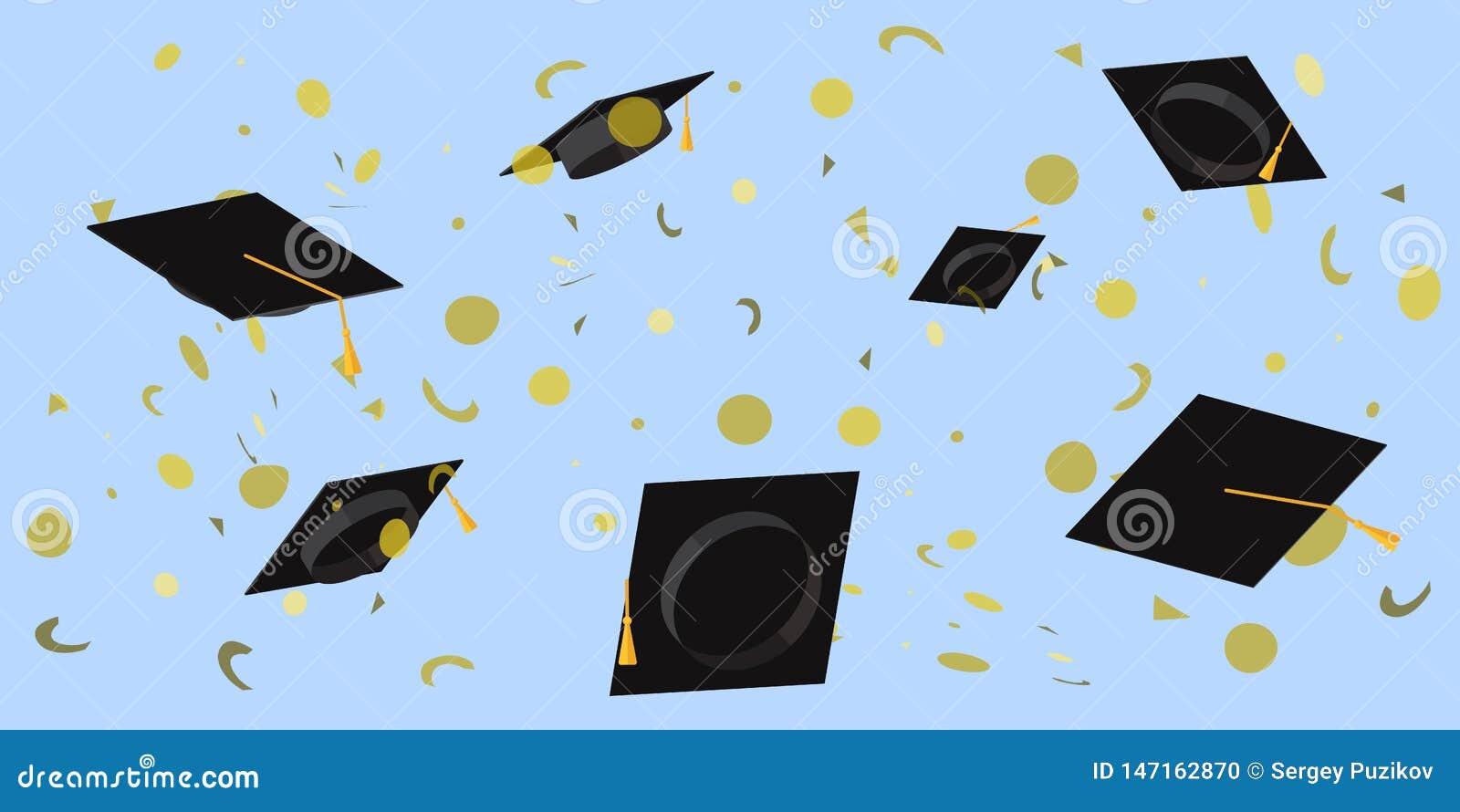 Tazas académicas lanzadas en el cielo en un ejemplo plano del vector del confeti del placer