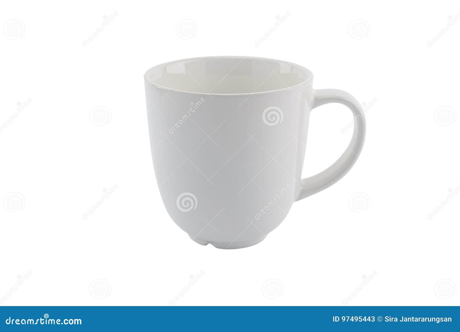 Tazza bianca vuota isolata su fondo bianco