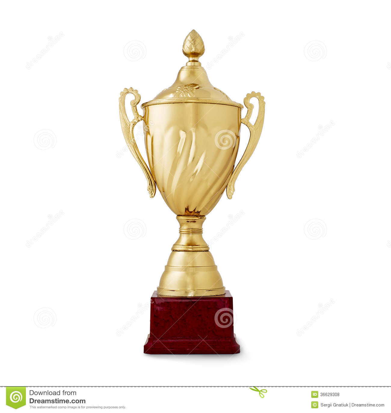 Tazza brillante dorata, ricompensa per il vincitore, su bianco