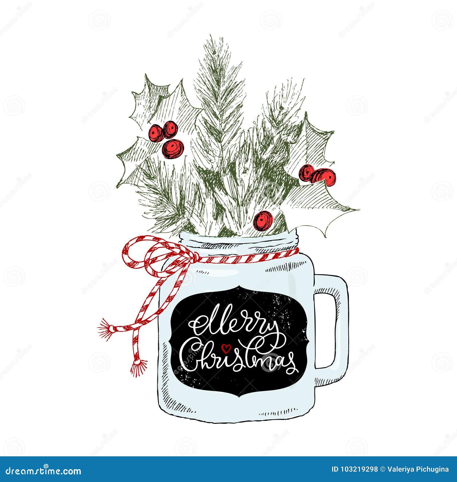 Tazza con le piante di Natale Buon Natale di frase dell iscrizione Cuoco unico Concetto di Natale
