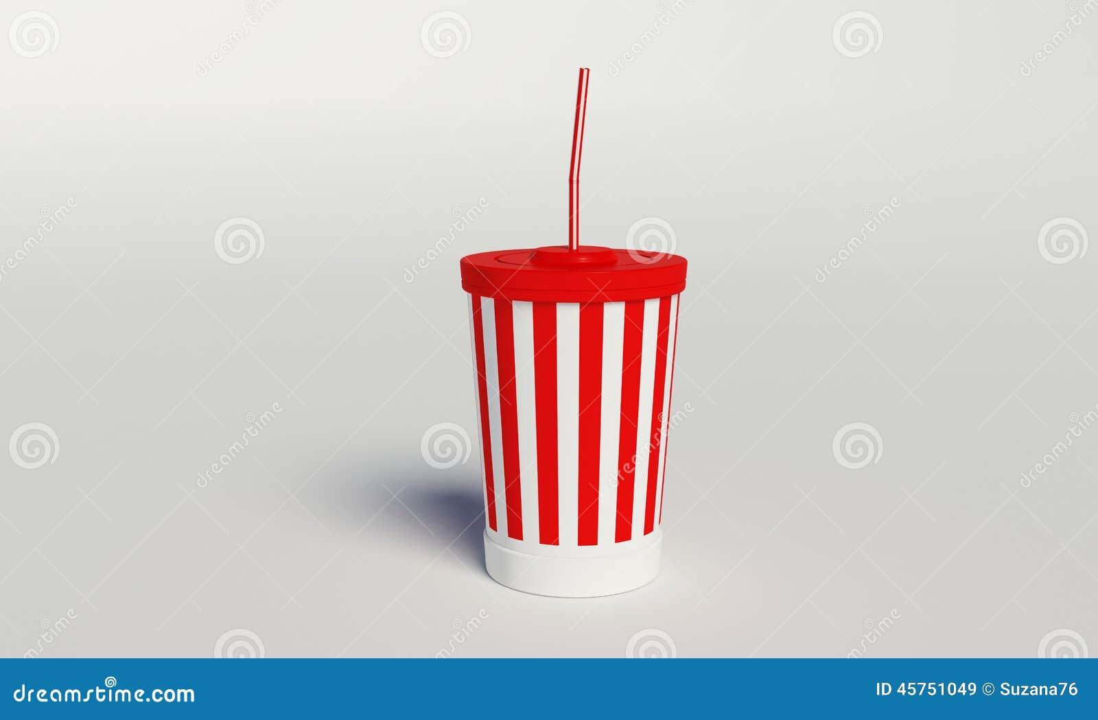Tazza della cola del cinema con le bande e la paglia