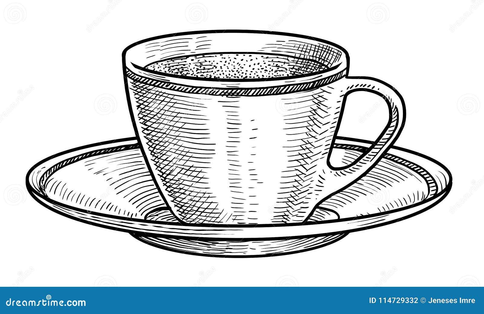 Tazza Della Porcellana Dellillustrazione Del Tè Disegno Incisione