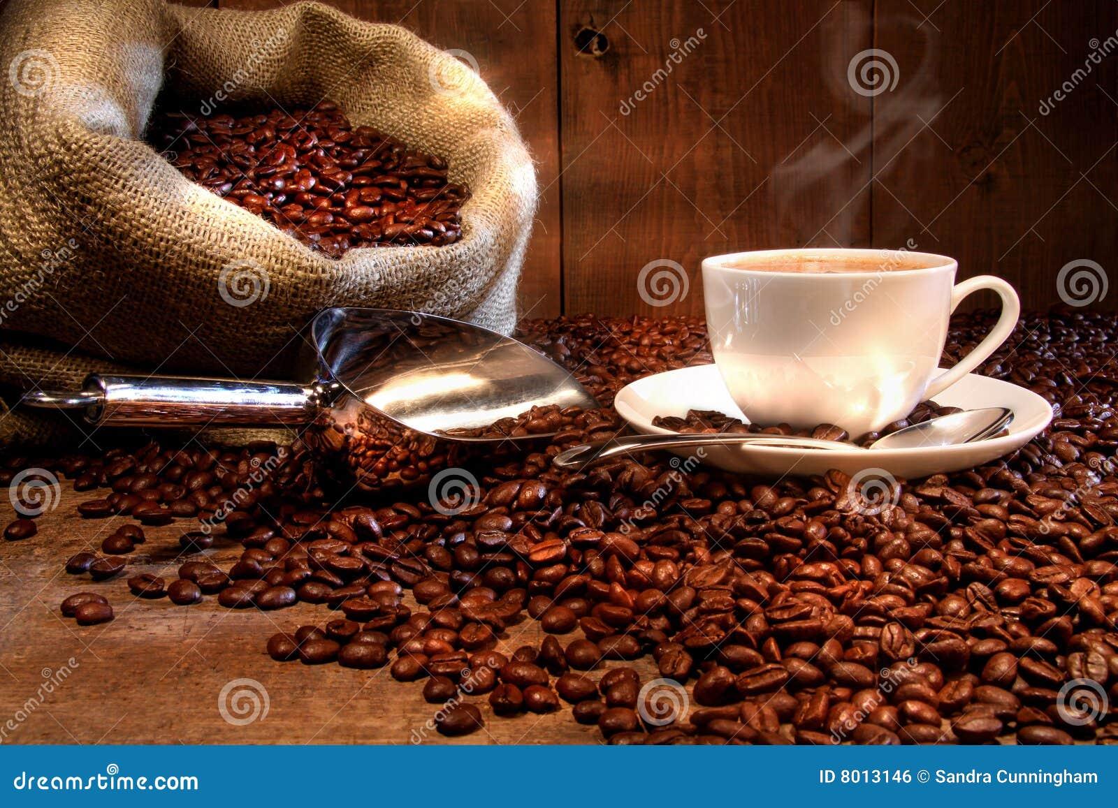 Tazza di caffè con il sacco della tela da imballaggio dei semi di cacao torrefatti