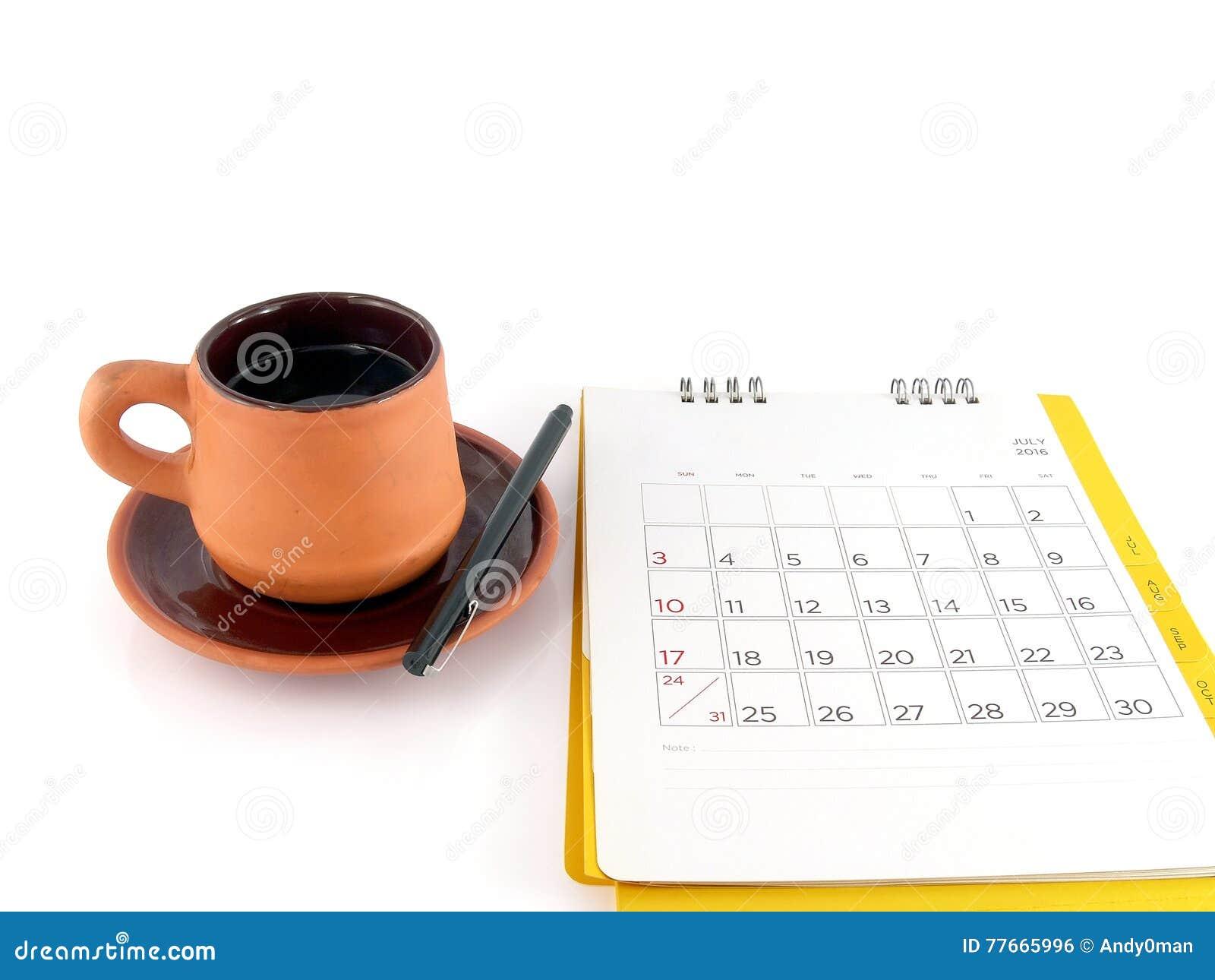 Calendario Con Note.Tazza Di Caffe E Calendario Da Scrivania Con Le Note In
