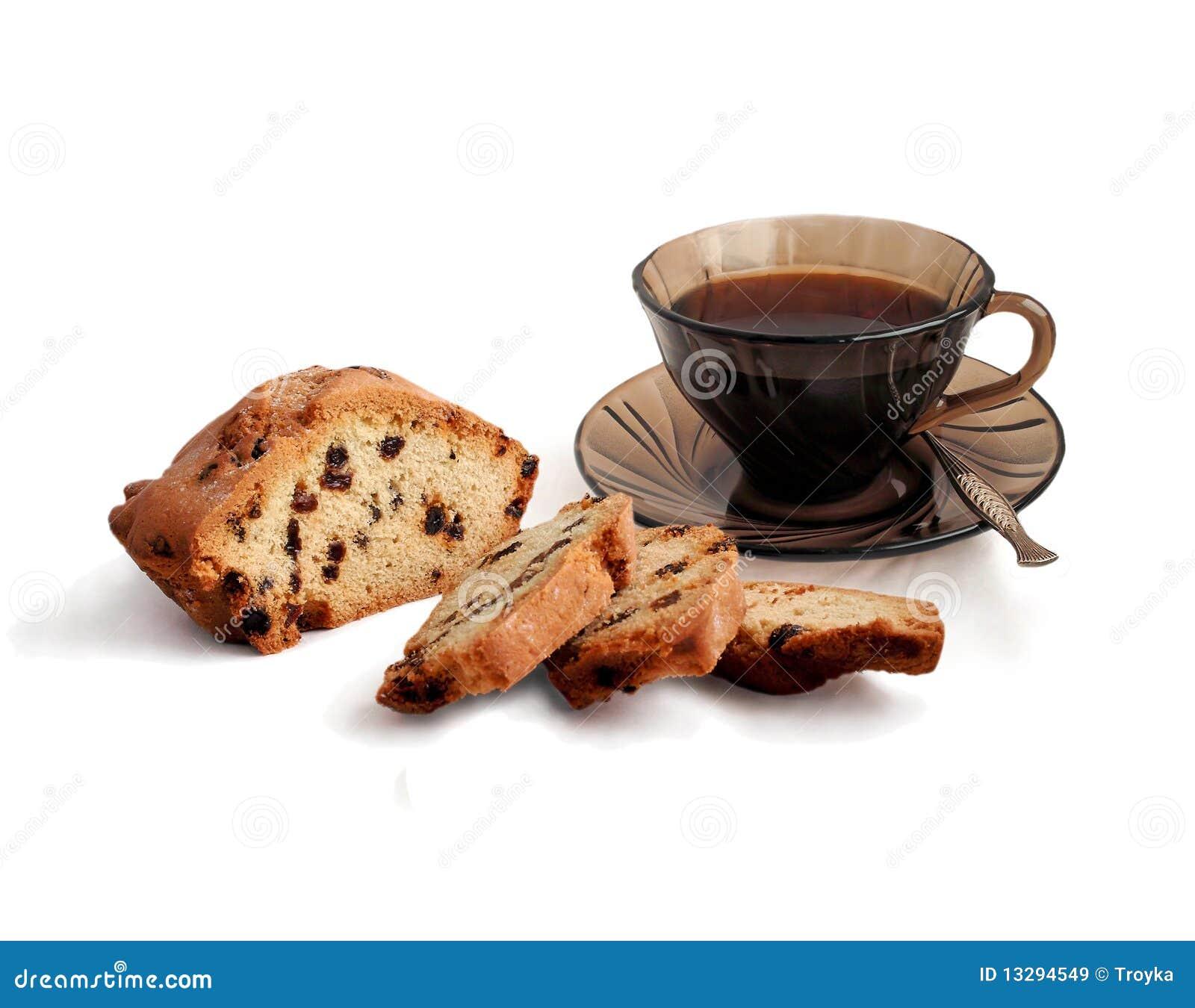 Tazza di caffè e torta con l uva passa.