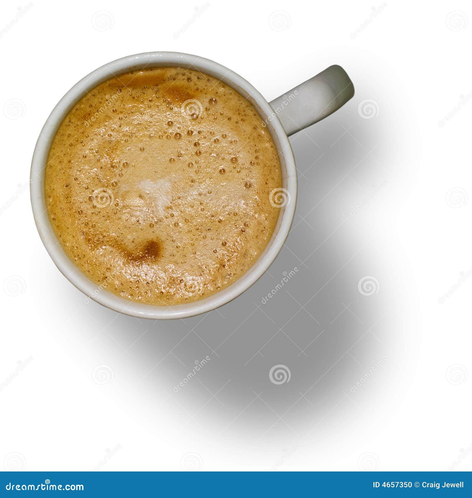 Tazza di caffè isolata con il percorso di residuo della potatura meccanica