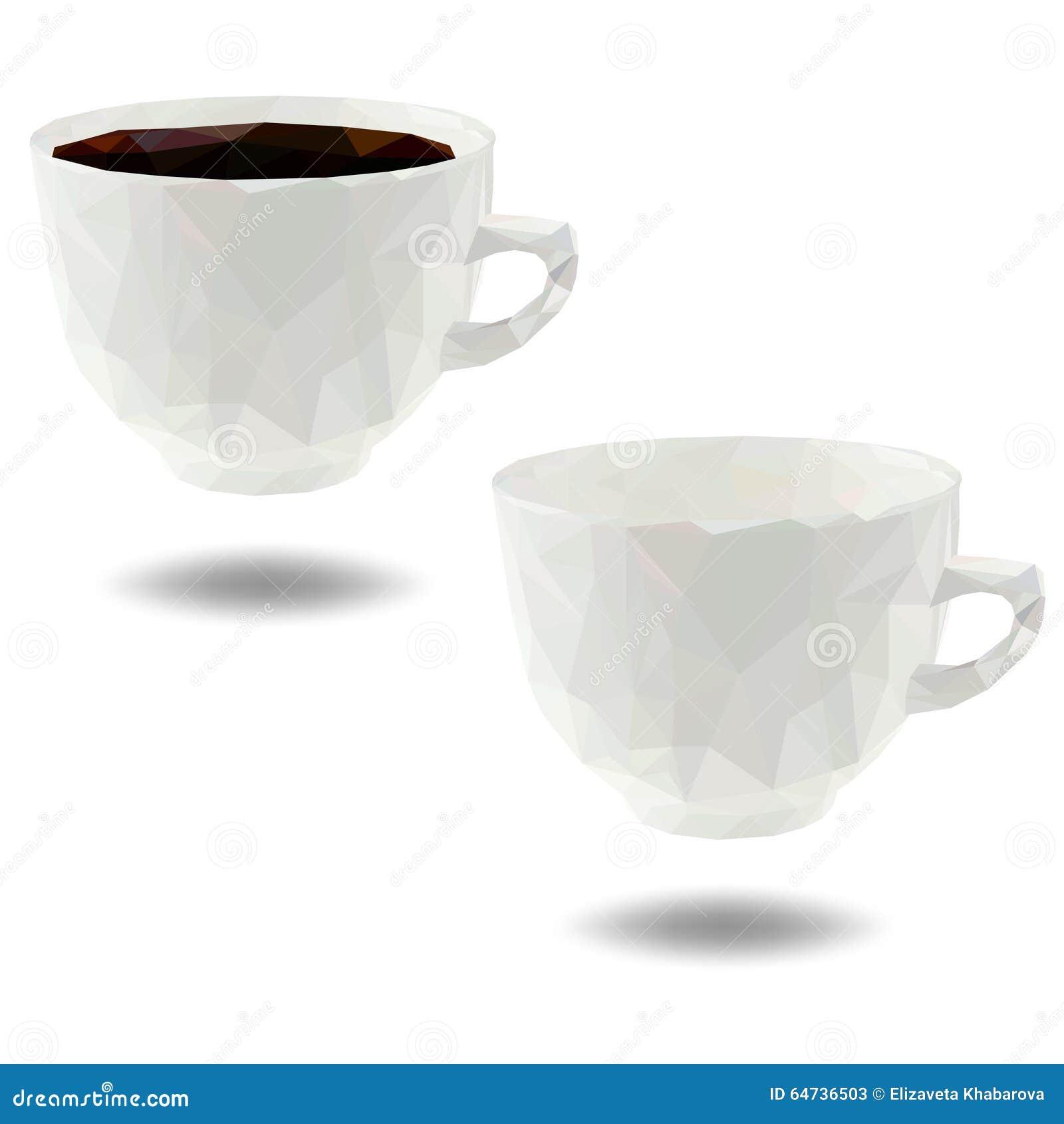 Tazza di caffè poligonale - illustrazione di vettore
