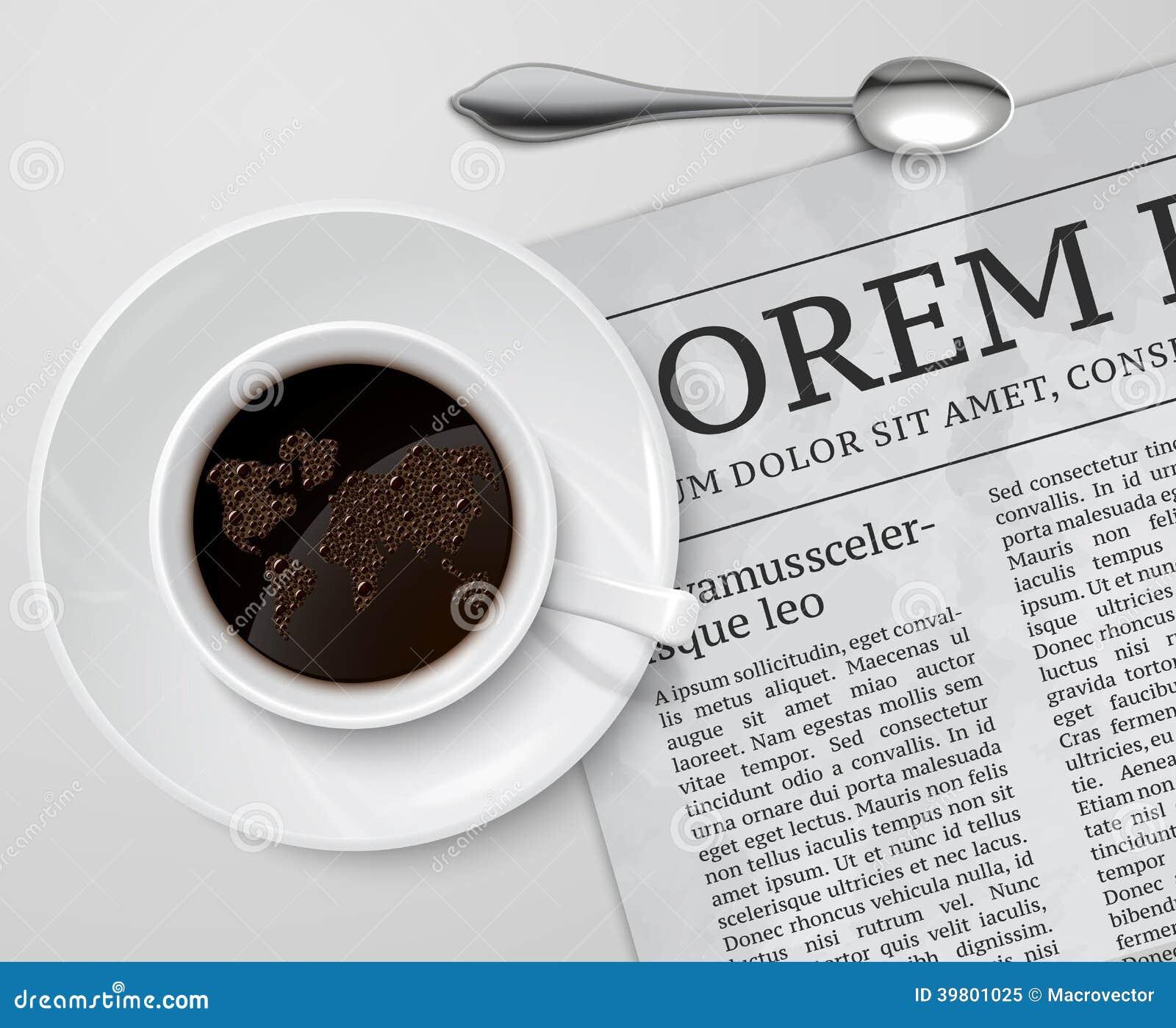Tazza di caffè sul giornale