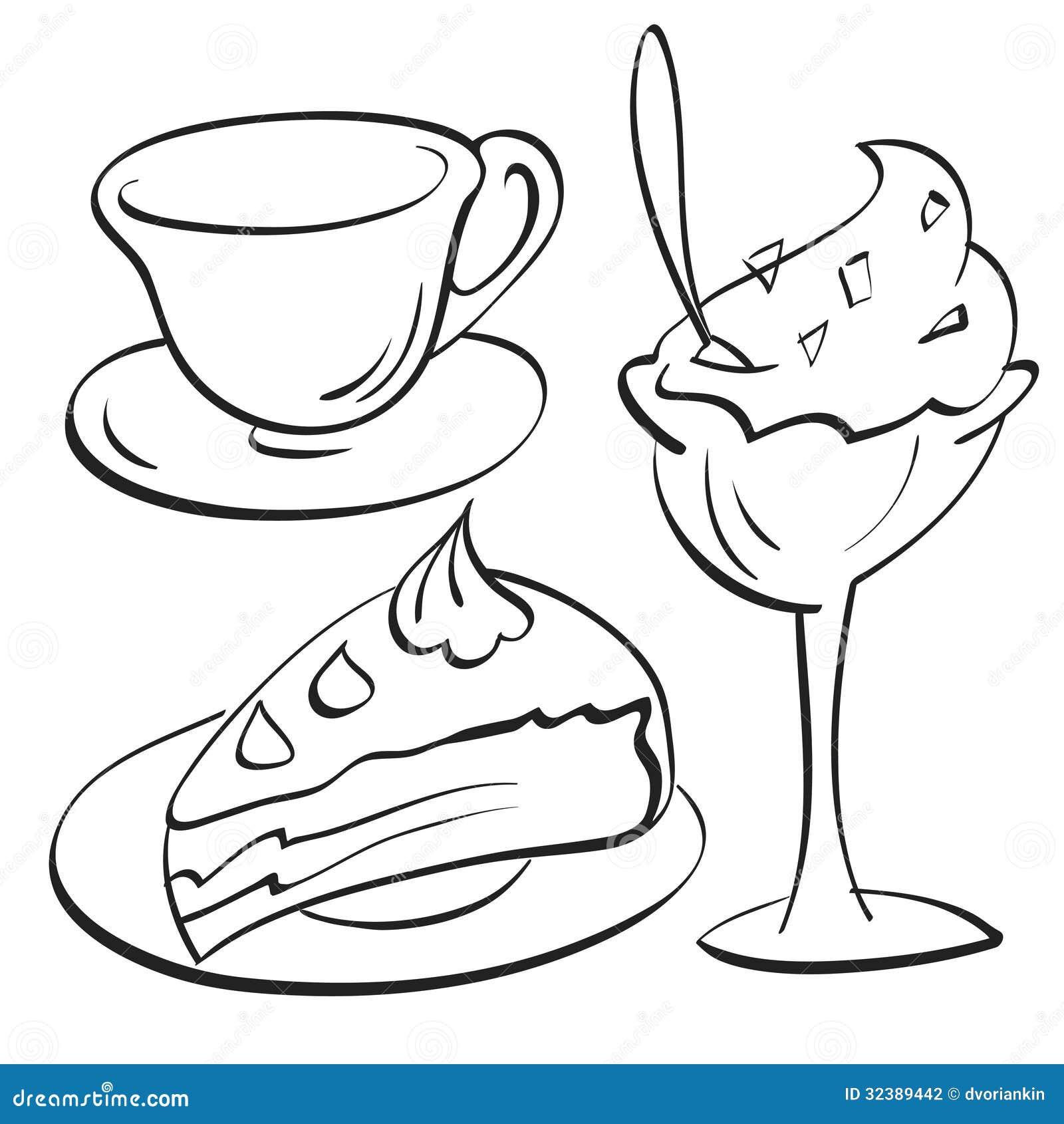 tazza dolce coppa gelato illustrazioni vettoriali e