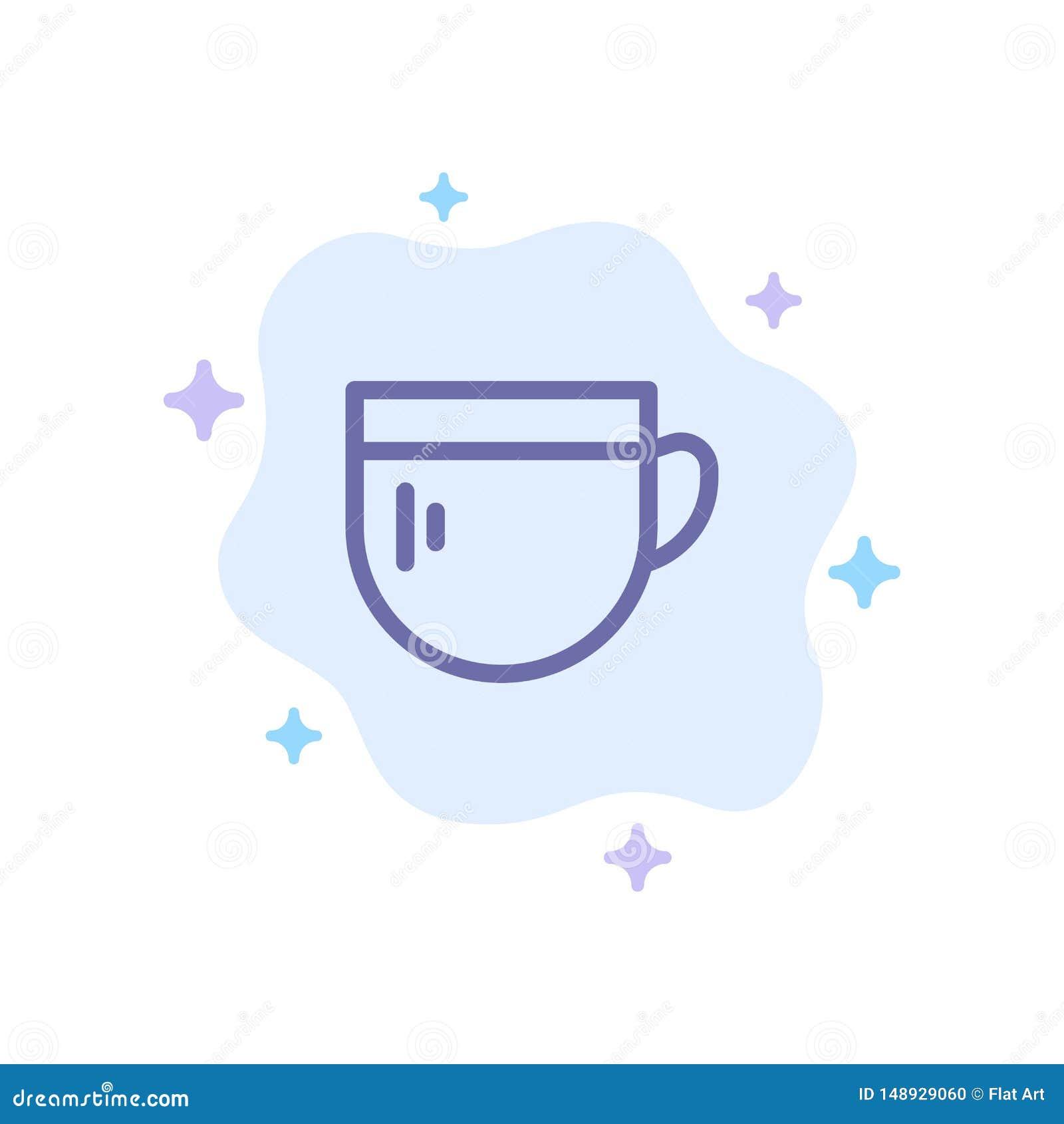 Tazza, tè, caffè, icona blu di base sul fondo astratto della nuvola