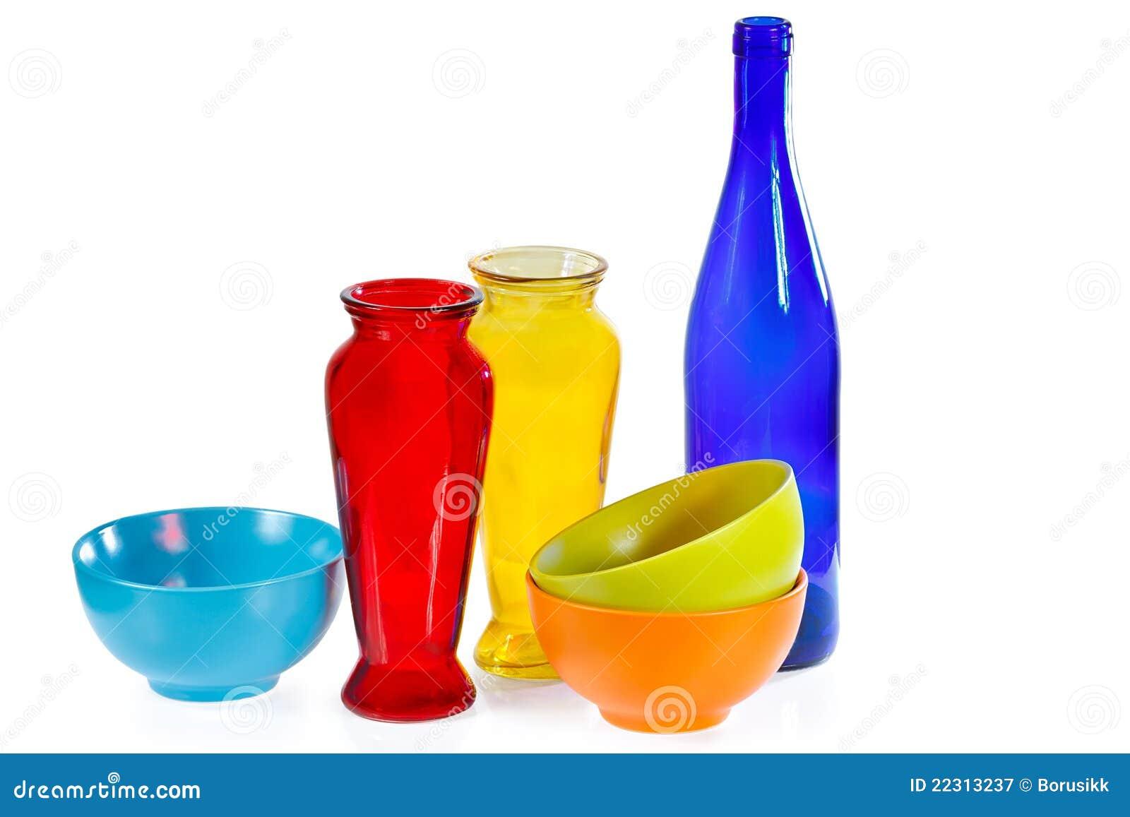 Tazze bottiglia di vetro e vasi di ceramica colorati for Vasi ermetici vetro