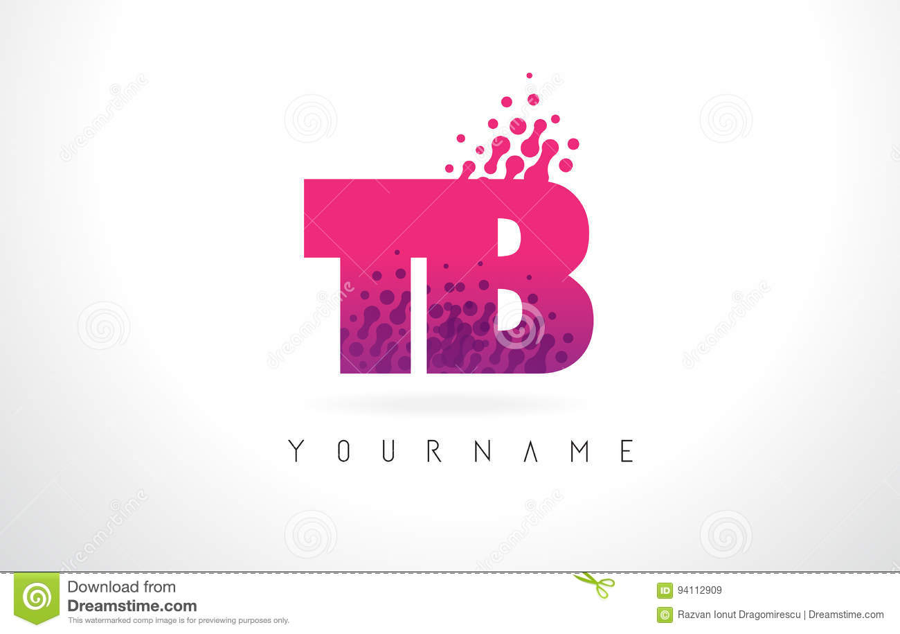 TB T B Letter Logo With Pink Purple Color And Particles Dots Des ...