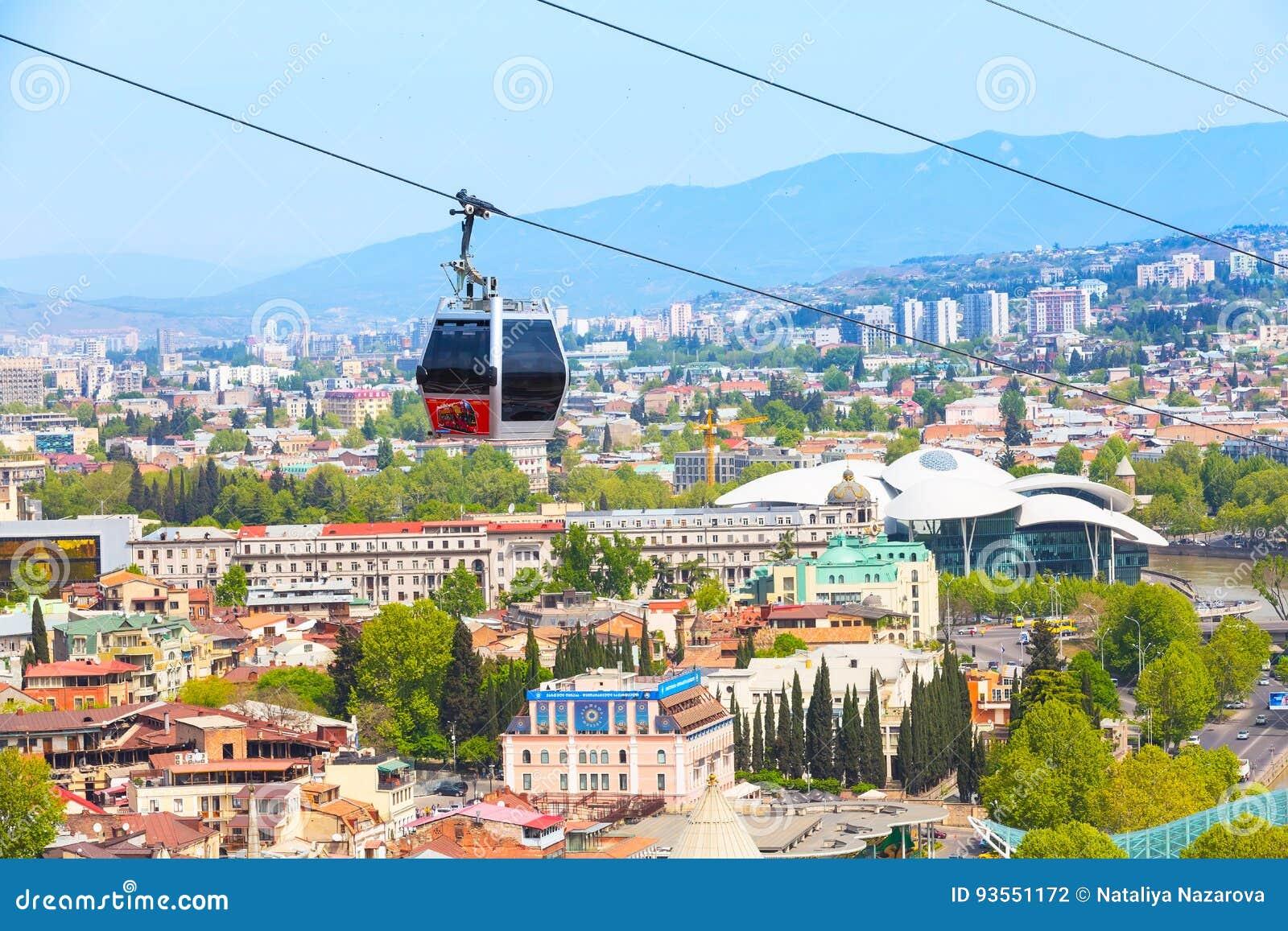 Live Videos Cars Tbilisi Georgia: Tbilisi, Georgia Cable Car Cabins And Aerial City Skyline