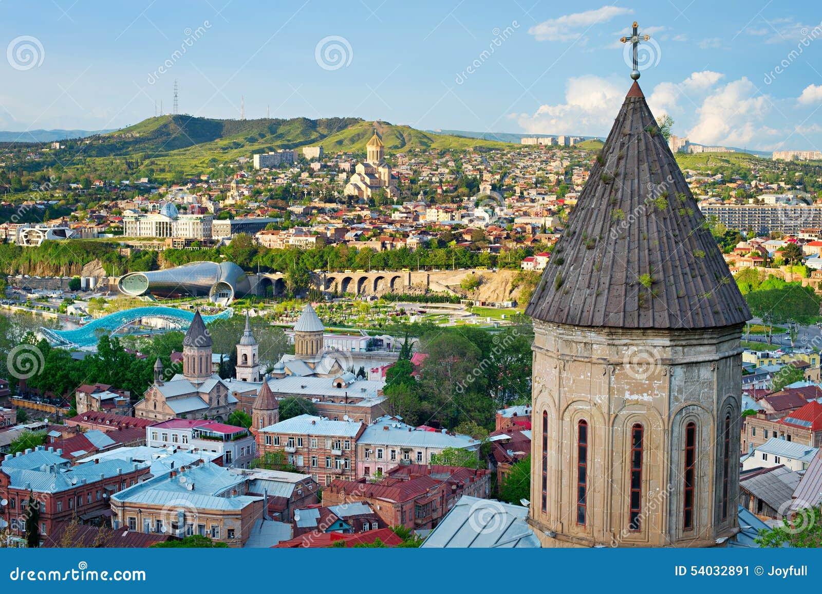 Tbilisi Tskneti Mountain Villa Tbilisi City Georgia: Tbilisi Skyline, Georgia Stock Photo
