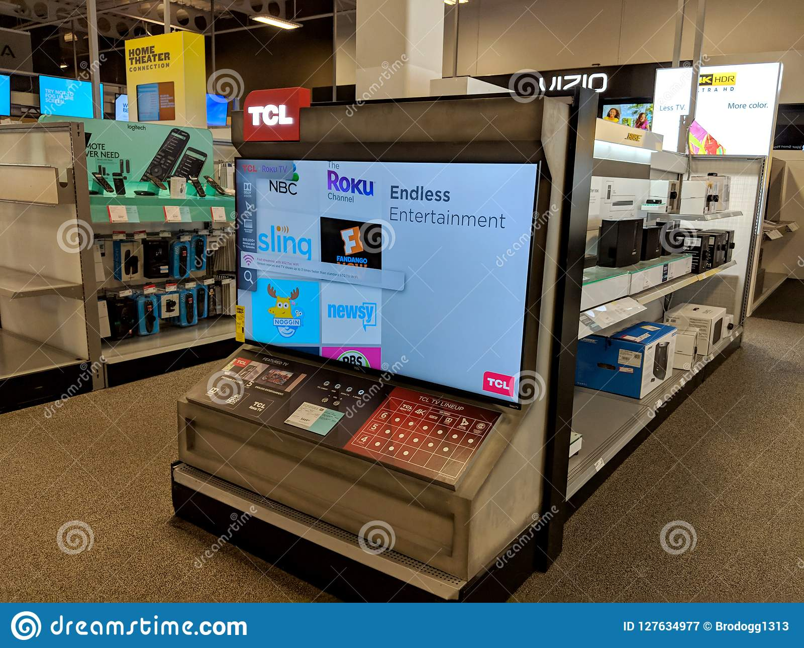 TCL Roku TV On Display At Best Buy Editorial Photography - Image of