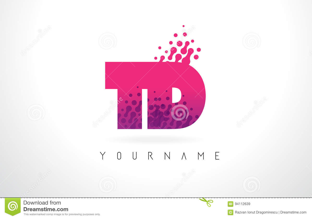 TD T D Letter Logo With Pink Purple Color And Particles Dots Des ...