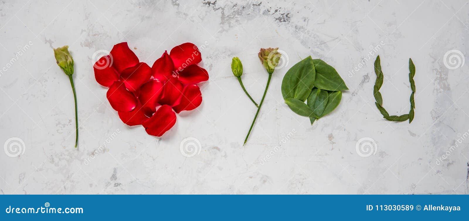 Te amo - hecho de flores, de pétalos y de hojas