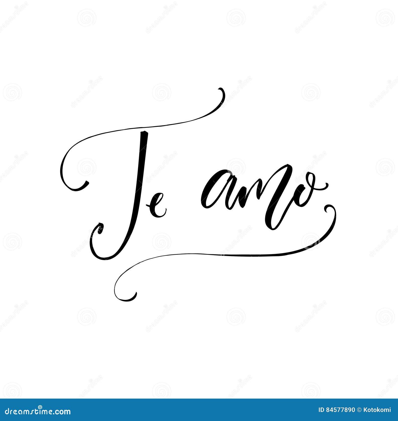 Citaten Cursief : Te amo i liefde u in spaanse taal moderne kalligrafie