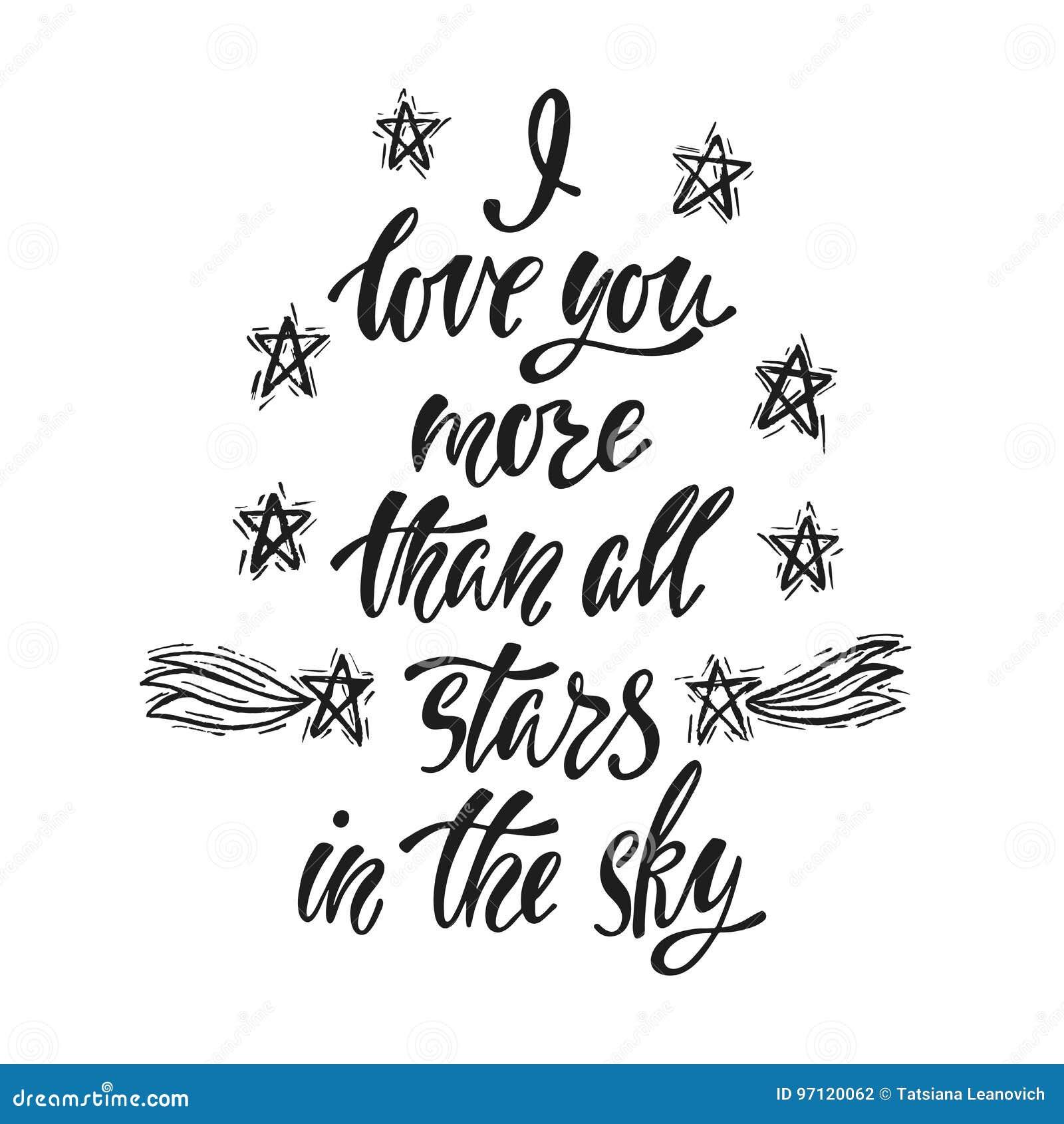 Te Amo Más Que Todas Las Estrellas En El Cielo Ilustración