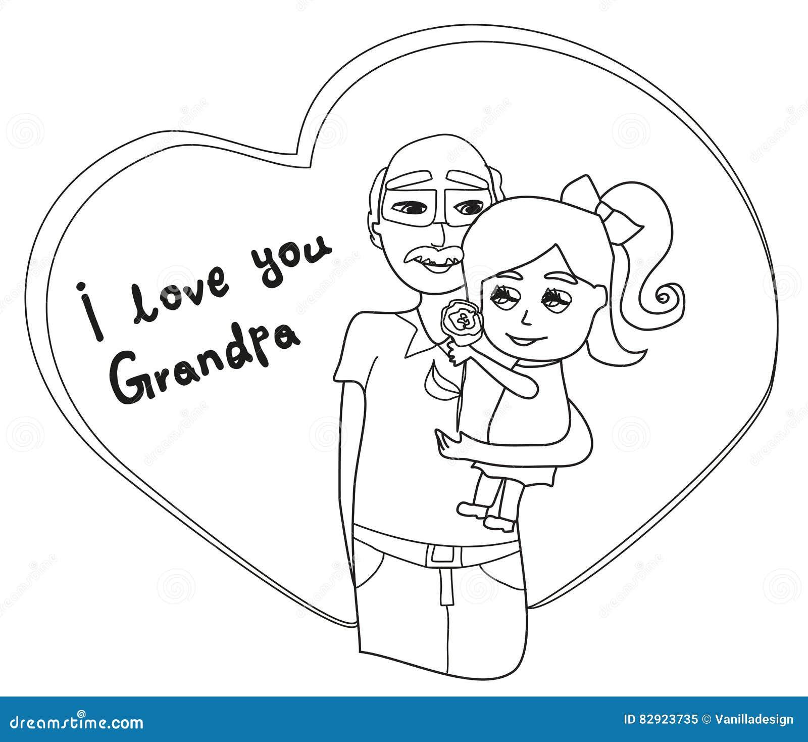 Te amo tarjeta del abuelo ilustración del vector. Ilustración de ...