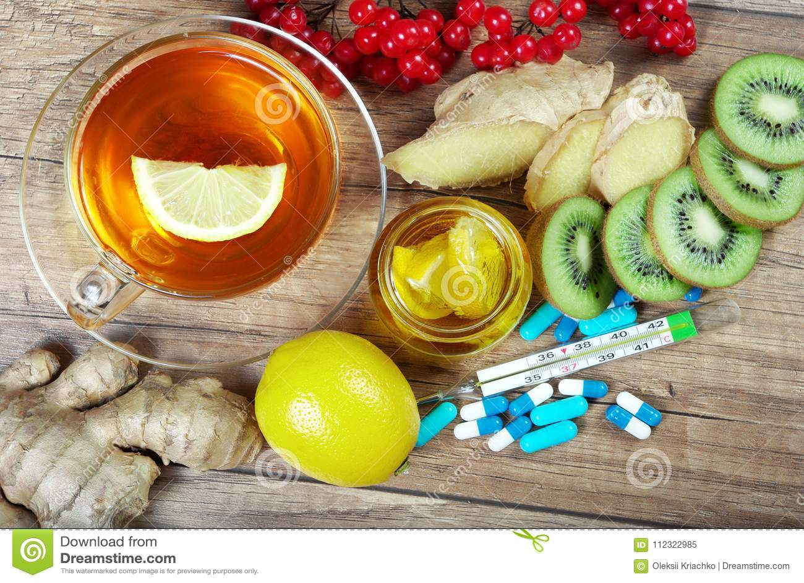 Te För Förkylning Och Influensa Vitaminte Honung Ingefära