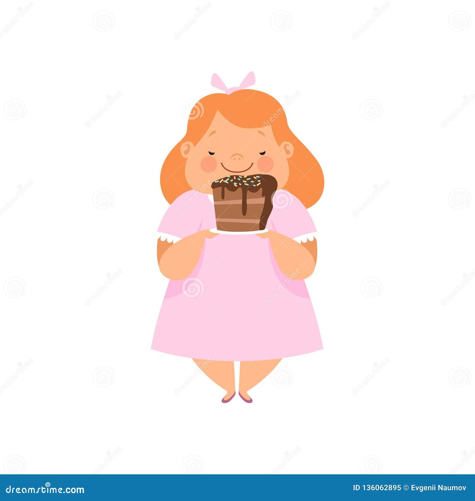 Te zwaar meisje met een stuk van chocoladecake, leuke mollige het karakter vectorillustratie van het kindbeeldverhaal op een wit