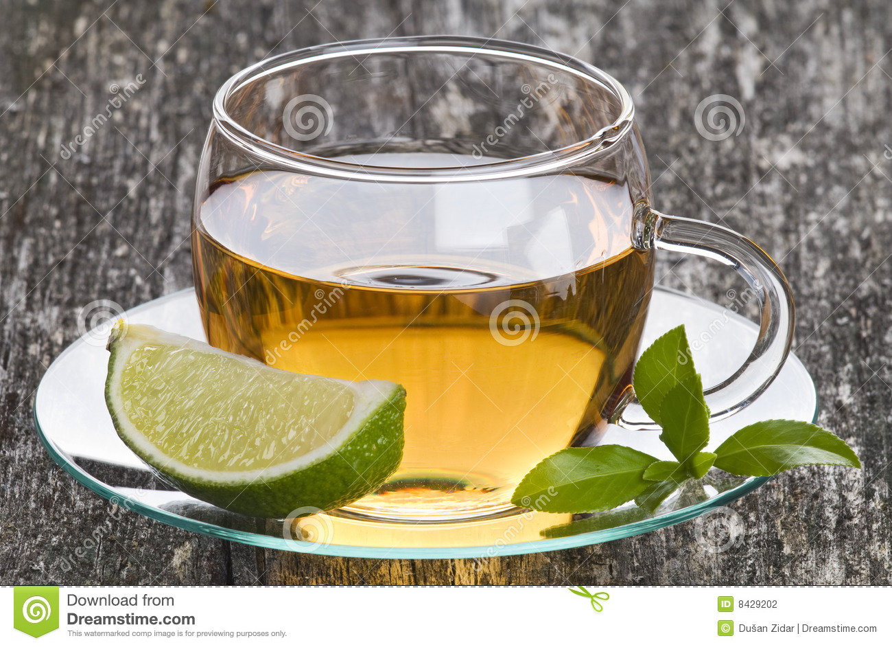 Glass Cup of Green Tea with Lime