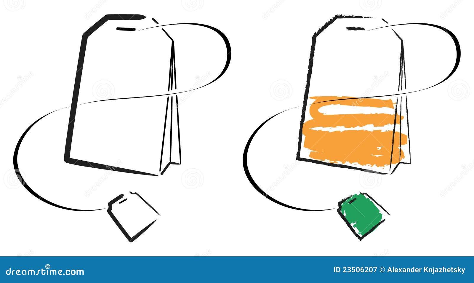 Line Art Software Free Download : Tea bag stock illustration of close black