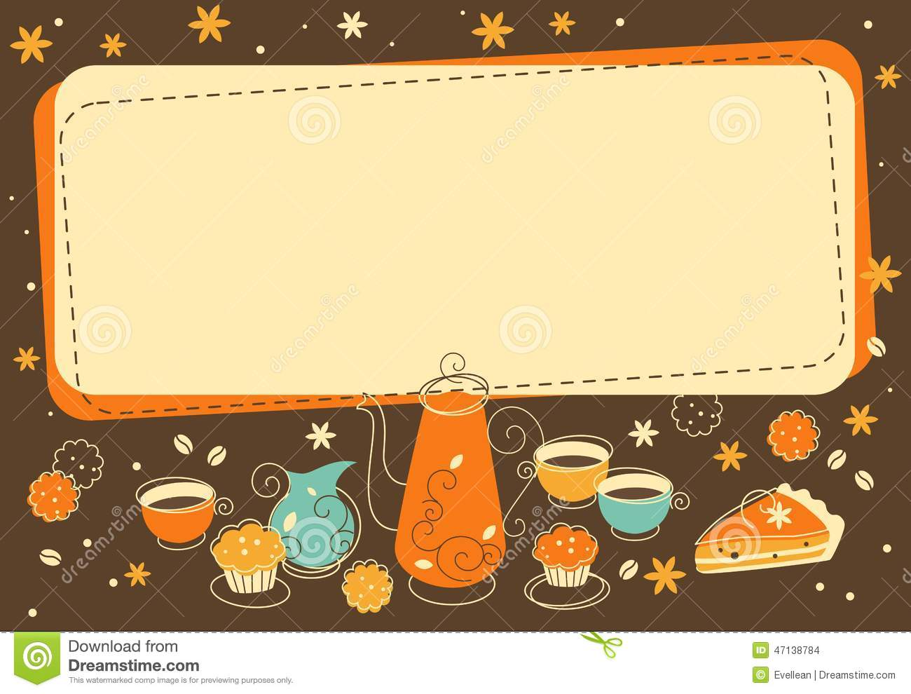 Tea And Bakery Background In Doodle Retro Style Stock