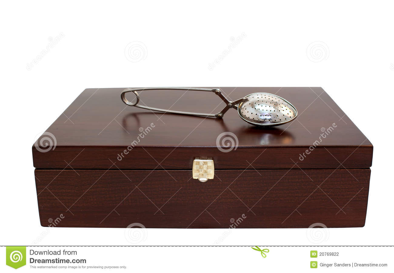 Tea Box and Strainer Isolated