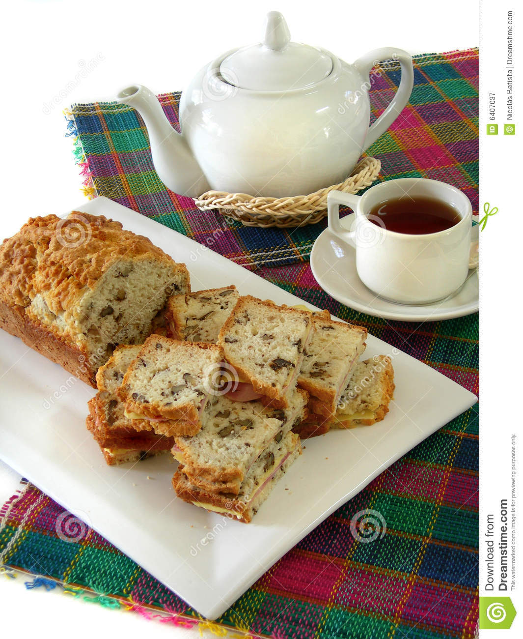 Tea with bread of nuts stock image. Image of colored ...