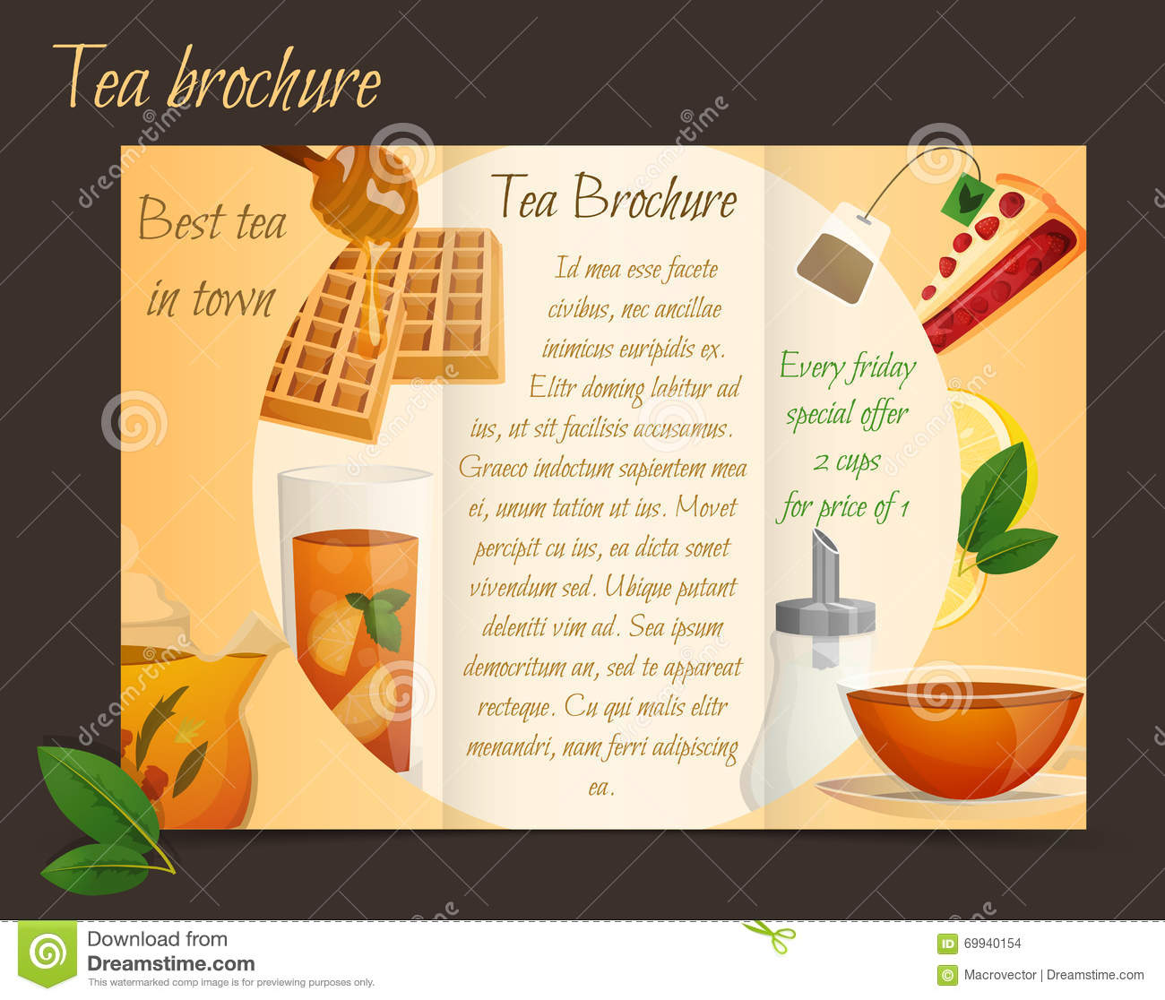 Tea Brochure Tri-fold Stock Vector - Image: 69940154