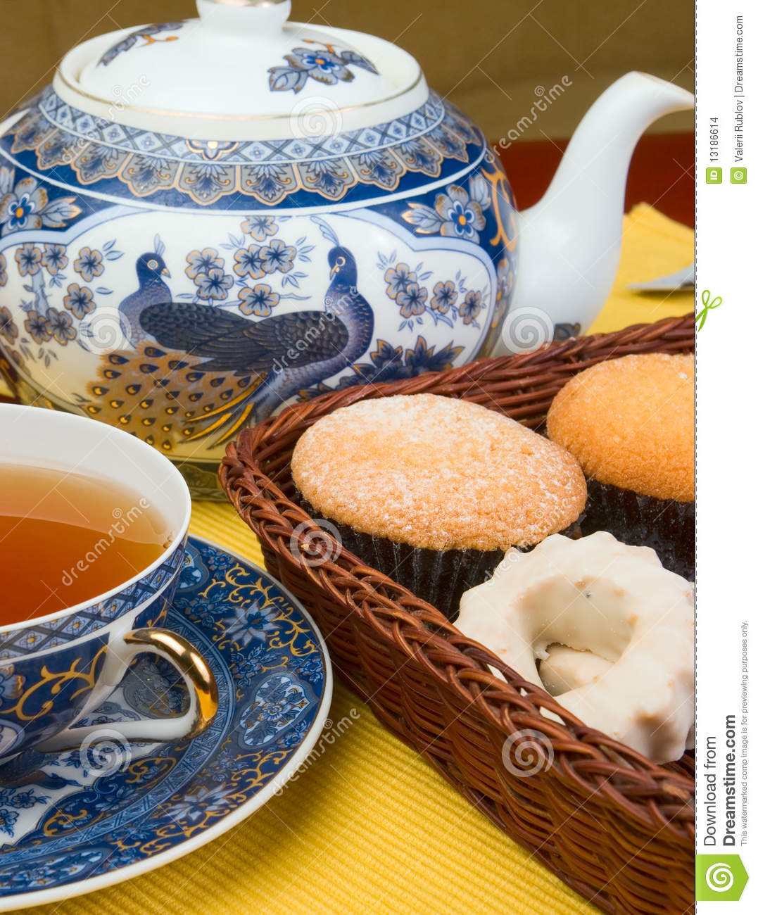 tea and cake stock photo  image of eating  sweets  wicker