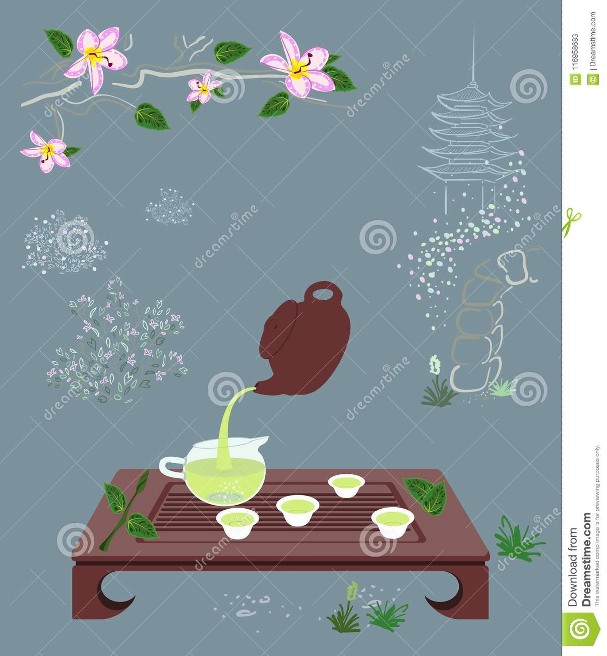 Download Tea Ceremony On Chinese Or Japanese Zen Garden Background Stock  Vector   Illustration Of Chinese