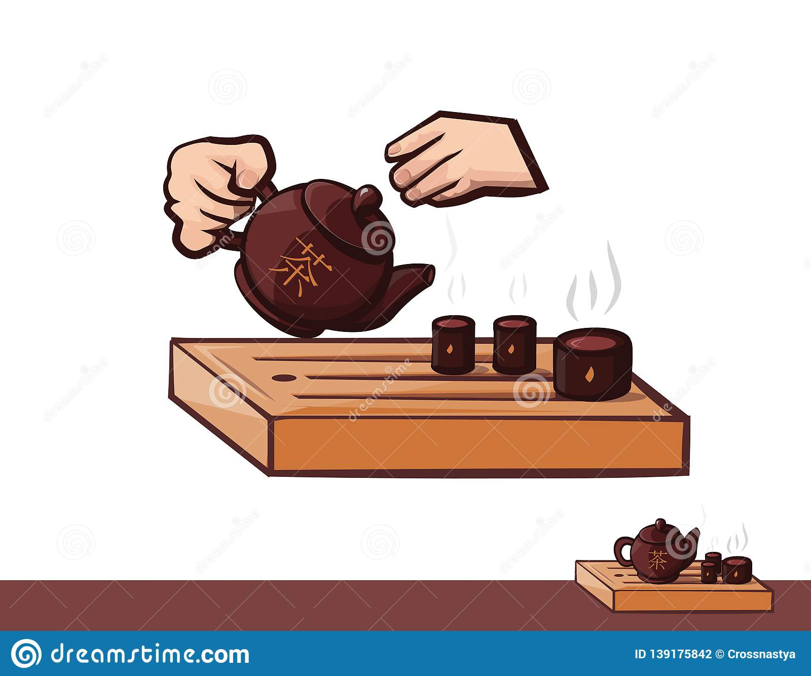 Tea ceremony. Clipart tea and hand. Teapot bowls ceramic and wood