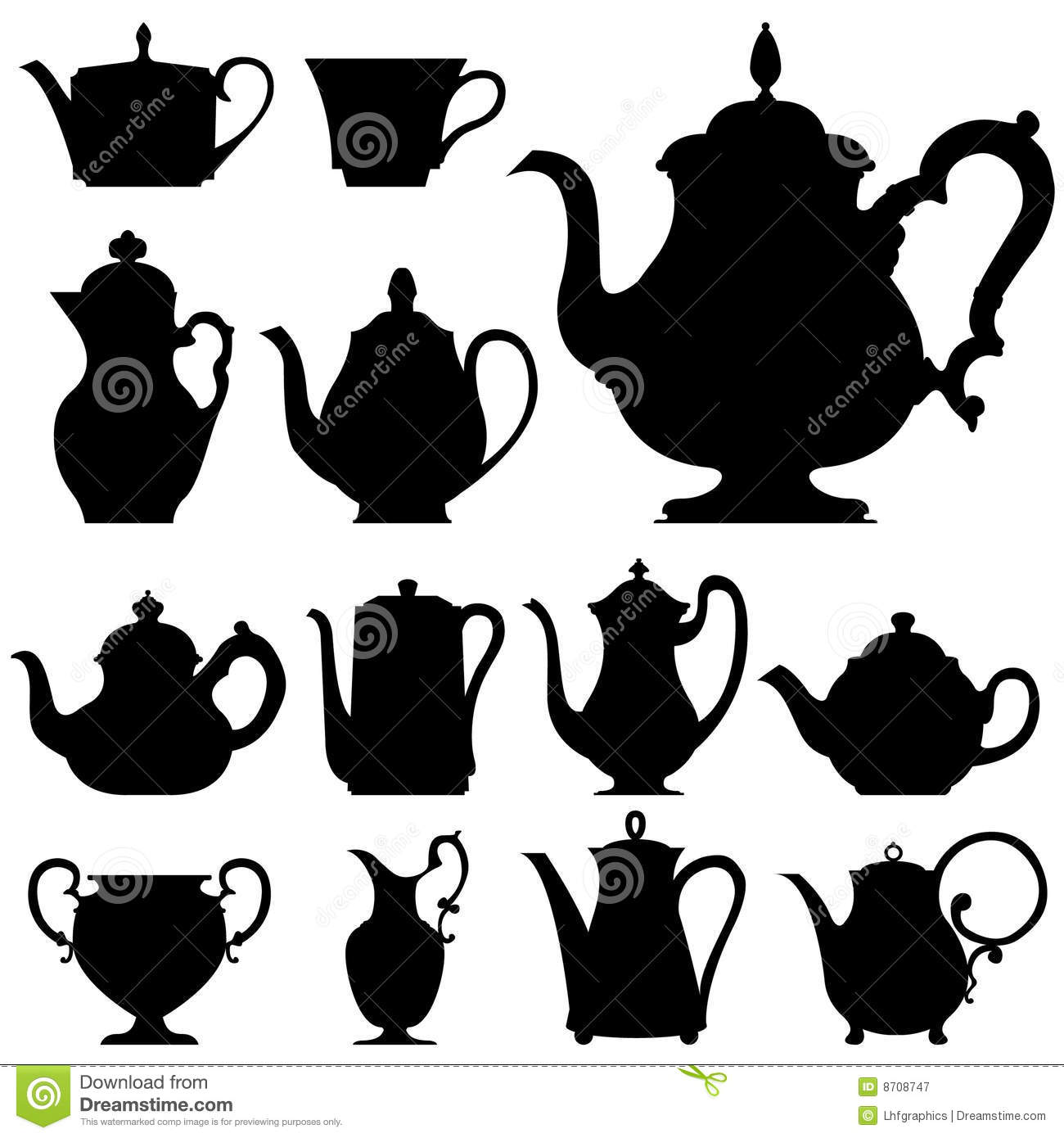 Detailed vector silhouettes of various tea and coffee ports, along ...
