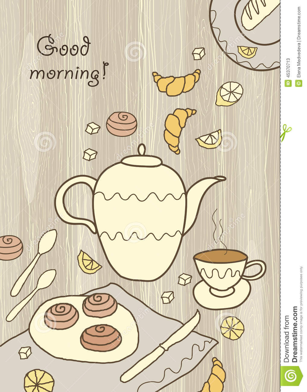 tea coffee and sweets on wooden background stock vector