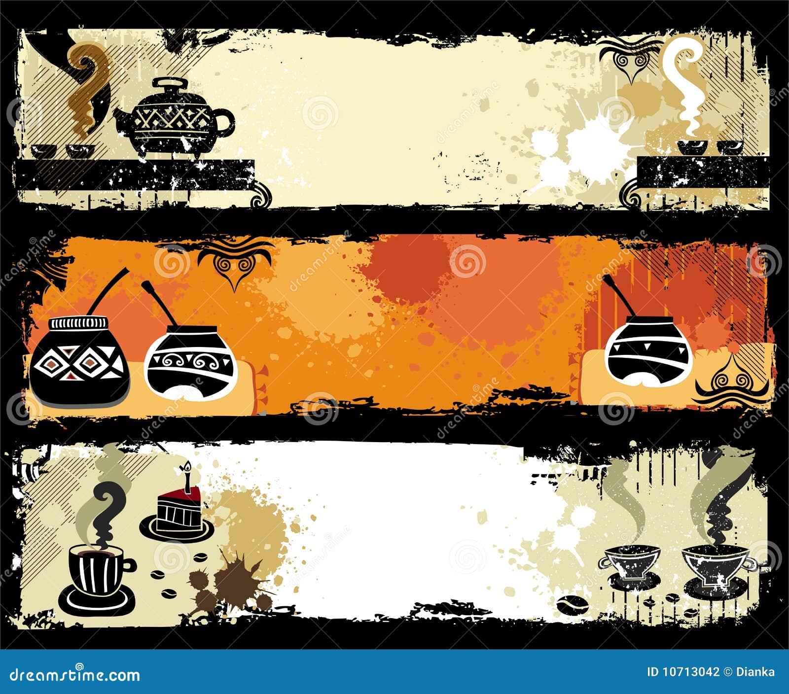 Tea, coffee, yerba mate banners.