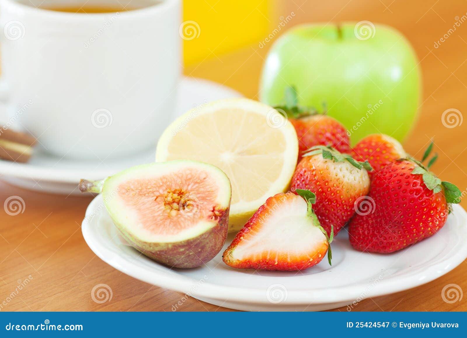 Tea,cookie,apple, Lemon, Fig And Strawberries Royalty Free ...