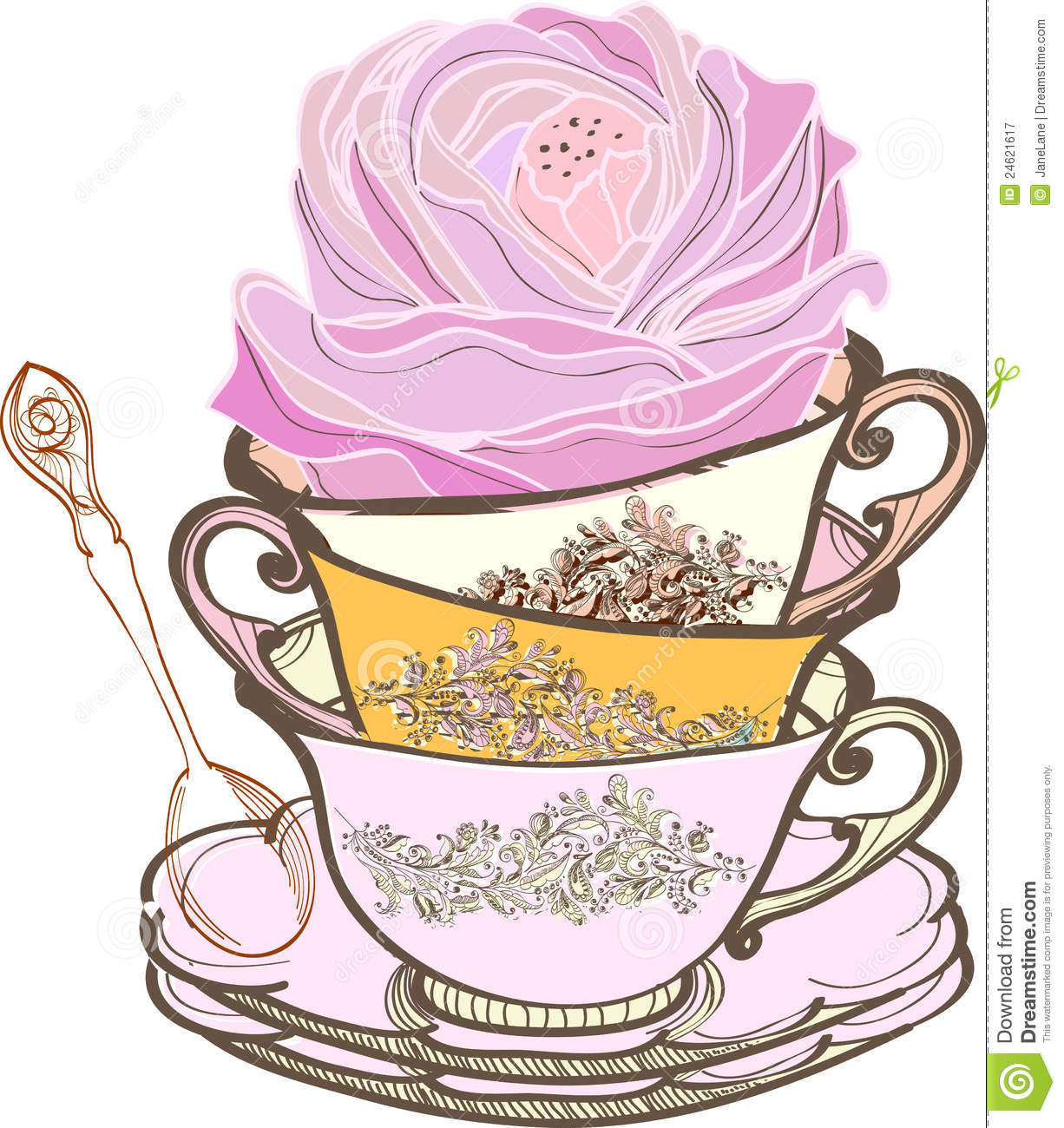 Fancy Teacup Clip Art Tea cup background with flower