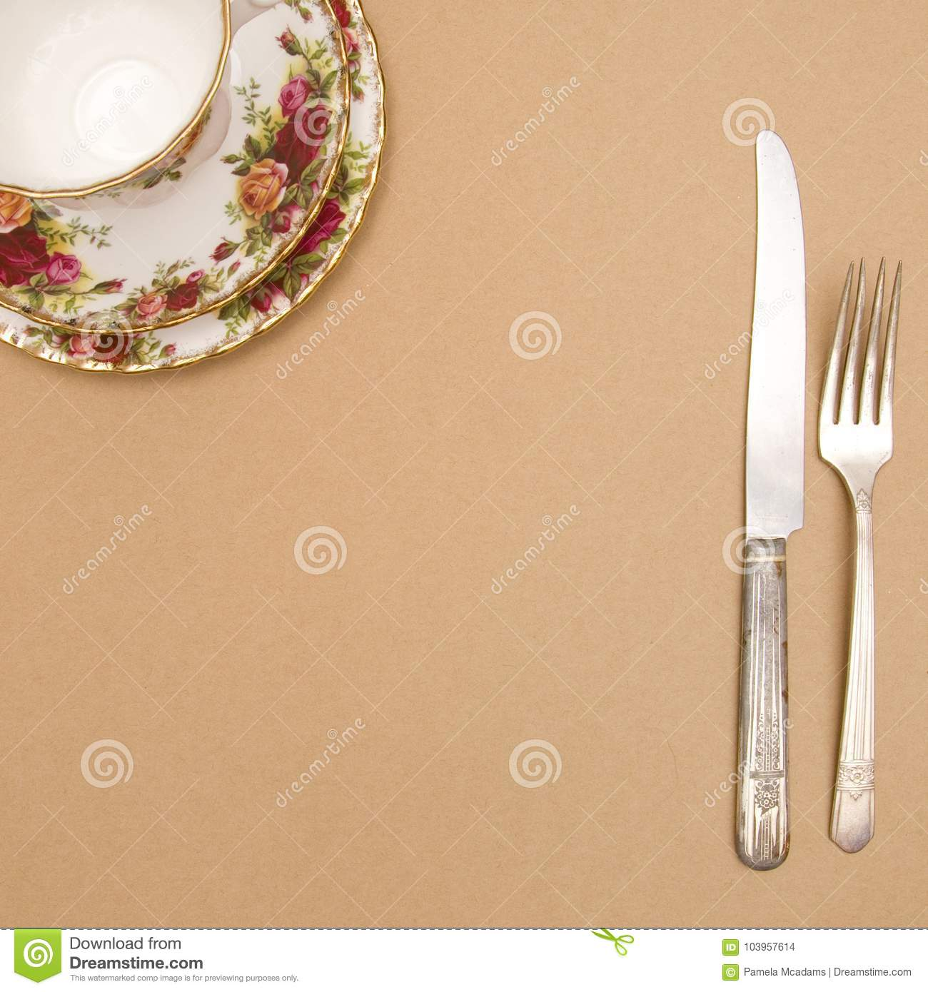 tea cup on a brown background add your dinner invitation stock