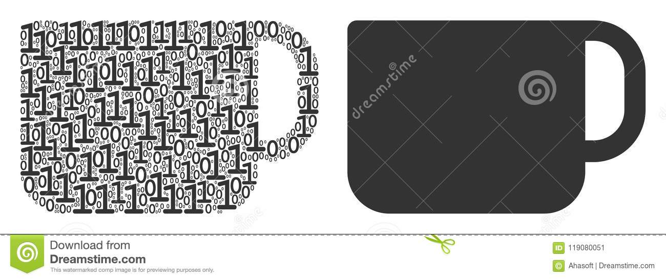 Tea Cup Composition Of Binary Digits