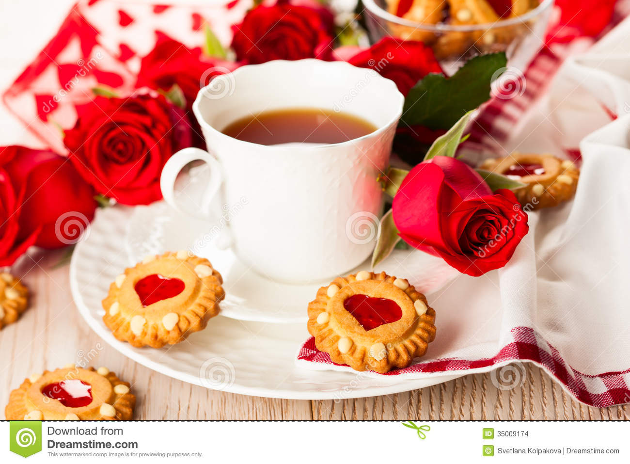 Tea Cup With Cookies For Valentine S Day