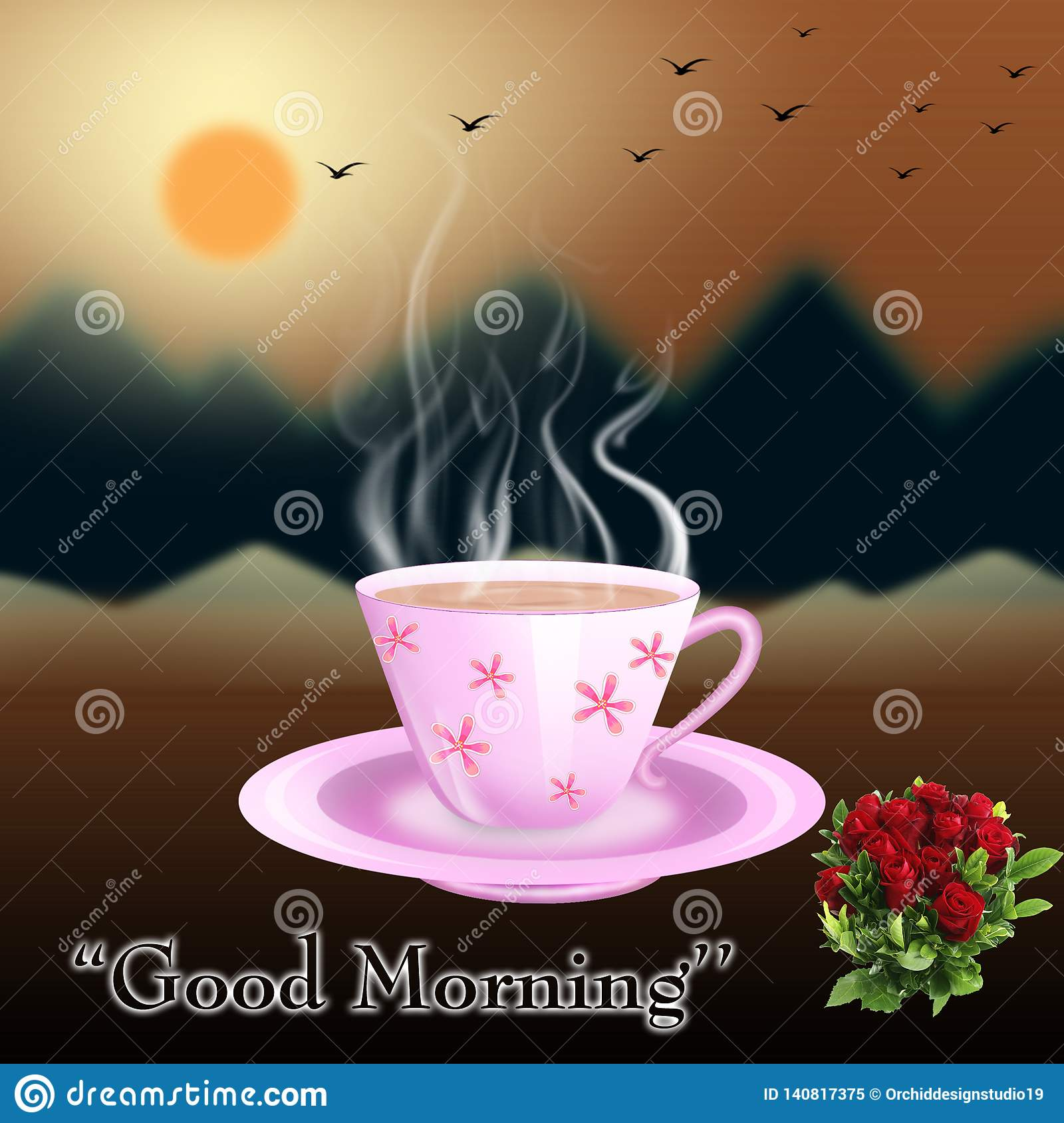 Tea Cup With Good Morning Title Image Stock Illustration