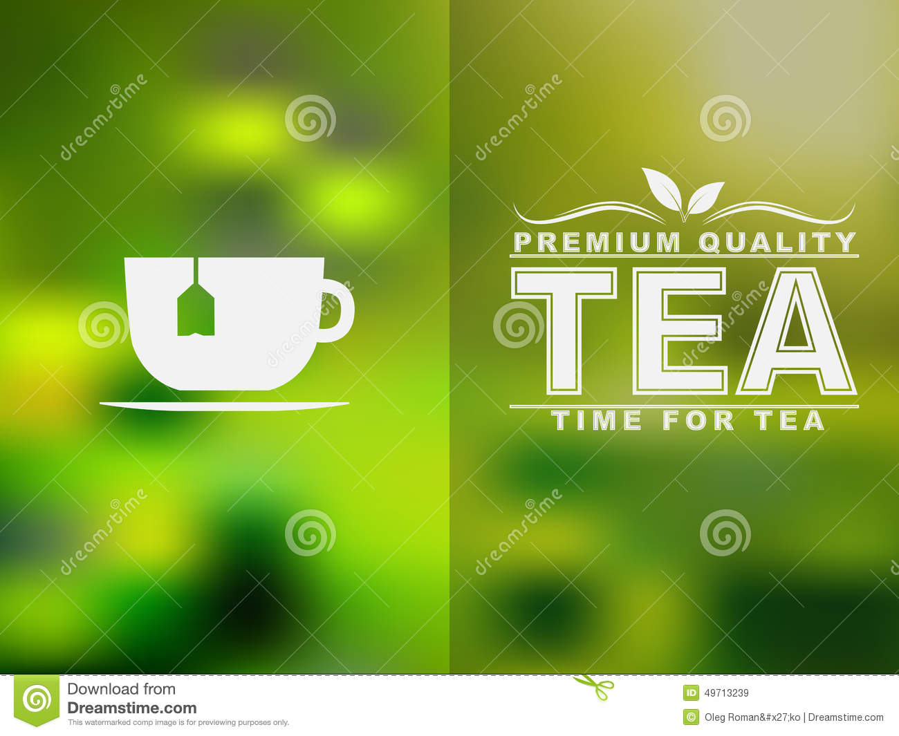 tea cup icon and text design with a blurred background  stock vector